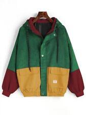 Womens Ladies Colour Block Windbreaker Corduroy Contrast Hooded Jacket Coat Top