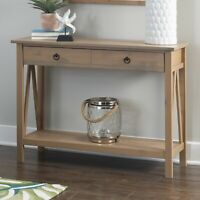 Rustic Farmhouse Console Hall Table w/ Shelf Large Drawer Storage Display Brown