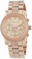 *NEW* MICHAEL KORS LADIES WATCH MK5827- ROSE GOLD TONE PAVE CRYSTALS RUNWAY