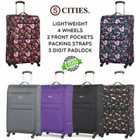 5 Cities Lightweight Suitcase Hand Cabin & Hold Check In Luggage Sets 22/26/29""