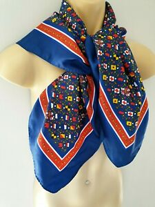 RNLI Navy Blue Red White Yellow Nautical Themed Vintage Scarf Anchors