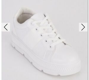 Beand New In Box White Lace Up Textured Platform Flatform Trainers Size 4