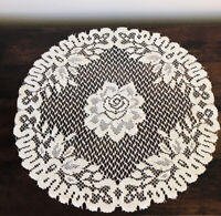 "Heritage Lace Doily Table Linen Off White Floral 15"" Alpine Rose Vintage Eleg"