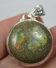 Ethiopia Natural Rough Fire Opal in Matrix Cabochon Gemstone Pendant 24mm X 9mm