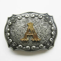 """Initial Letter """"A"""" Cowboy Rodeo Western Metal Belt Buckle"""