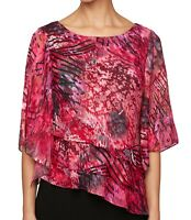 Alex Evenings Womens Blouse Pink Size Medium PM Petite Tiered Printed $119- 419