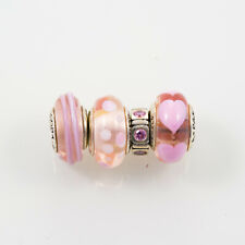 Pandora Lampwork Beads and Sterling Silver Charm, Lot of Four, Pink