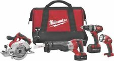 NEW MILWAUKEE 2694-24 M18 18 VOLT 4PC CORDLESS TOOL SET DRILL SAWS LIGHT BUNDLE