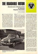 1967 NSU WANKEL SPIDER ~ ORIGINAL 3-PAGE ARTICLE / AD