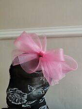 baby pink crin fascinator headband headpiece wedding party race ascot bridal