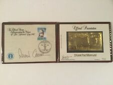 1987 AMERICA'S CUP WINNER GOLD STAMP, DENNIS CONNER SIGNATURE, LEATHER PKG