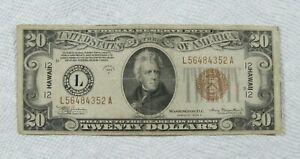 !934-A Federal reserve $20 Hawaiian WW2 Note in a VF condition,