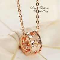 18K Rose Gold Filled Exquisite Hollow Out 4 Leaf Clover Ring Necklace