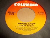 "PHOEBE SNOW "" RANDOM TIME / EVERY NIGHT "" 7"" SINGLE 1978 VG+"