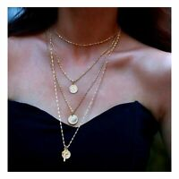 Multilayer Kette Halskette gold Kreuz Anhänger Damen Modeschmuck Plättchenkette