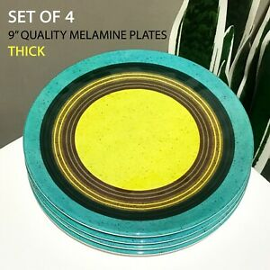 """4-PC New Certified Intl 9"""" Thick Melamine Plates Concentric Circles Turq Yellow"""