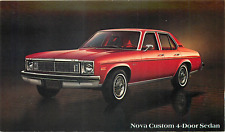 1978 CHEVROLET NOVA CUSTOM  4-DOOR SEDAN AUTOMOBILE ADV. CHROME POSTCARD