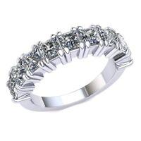 2.2 Ctw Princess Cut Diamond Ladies 4Prong Wedding Half Eternity Band 18k Gold
