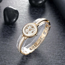 Gold Plated Case White Dial With White Metal Bangle Women's Watch