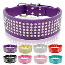 5cm Wide Bling Rhinestone Pet Dog Collar Crystal Necklace PU Leather Adjustable