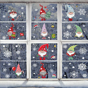 4 Sheets Christmas Tree Snowflake Window Stickers Snowflake Santa Claus Decals
