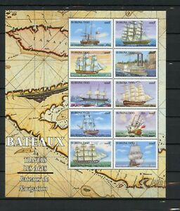 Burkina Faso MNH #1132a-j Souvenir Sheet Ships of History 1999  A624