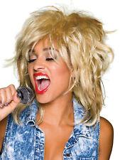 Ladies 80s Blonde Rocker Wig Pop Star Tina Turner Mullet Fancy Dress Costume