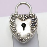 Antique Victorian Sterling Silver Puffy Heart Signed Charm Padlock Pendant