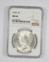 MS64 1923 Peace Silver Dollar - Graded NGC *572