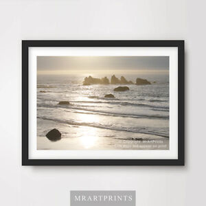 SILVER SEA OCEAN Art Print Poster Sunset Serene Calming Picture Interior Design