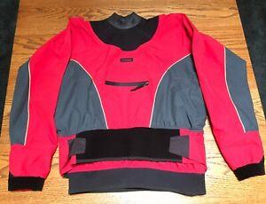 Stohlquist FreeRyde Kayak Dry Top, Red/Gray, Men's XL.