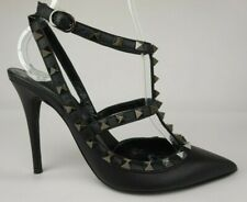 Valentino Noir Rockstud T-Strap Black Leather Pumps Women's Heels Size 36.5 EU