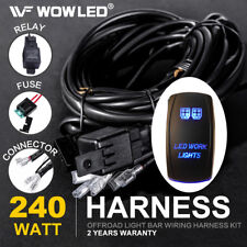 WOW - LED WORK LIGHT Rocker Switch Blue LED Relay Wiring Harness Kit Offroad 4X4