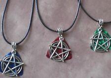 Pentagram Guitar Pick Pendant Pentacle Supernatural Leather Necklace Wicca Pagan
