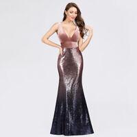 Ever-Pretty Elegant Sequins Evening Dress Long Fishtaill Velvet Ball Gown 07767