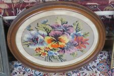 "Vintage Fine Finished Floral Needlepoint Hand Made 13"" x 17"" -  19"" x 23"" Framed"