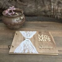 Wedding Guest Book Album Rustic Wood Design Custom Wooden Guestbook 27*19*1.5CM