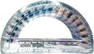 """Box of 12 Clear Iridescent Protractors Angle-Finder Drafting-Tool 180° 6"""" Ruler"""