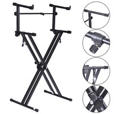 Pro Adjustable 2-Tier X Style Dual Keyboard Stand Electronic Piano Double New