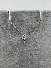 Designer Roberto Coin 18k White Gold Diamond Cross Chain Necklace Tiny Pendant