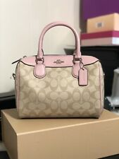 Coach F32203 Mini Bennett Satchel Crossbody Light Khaki Carnation Pink