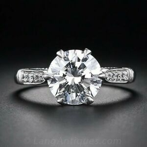 3.35Ct White Round Cut Diamond Antique Engagement Ring Solid 925 Sterling Silver