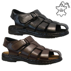 MENS LEATHER SANDALS TWIN WALKING SUMMER HOLIDAY BEACH MULES SHOES SIZE UK 6-12