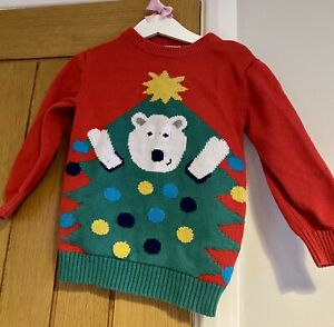 Bluezoo Boys Girls Kids Red Polar Bear Christmas Jumper 2-3 Years 🎄🎅🏻
