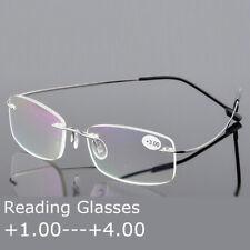Flexible memory Alloy reading glasses rimless frames for reader Silver +1.0~+4.0