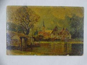 Vintage Oil Paint Facsimile Art Postcard River & Buildings Germany Unposted