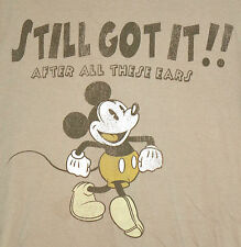 Official Disney World MICKEY MOUSE Vintage Style T-Shirt SMALL Walt Disney Tan