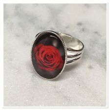 Gothic Red Rose Ring - Adjustable