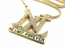 "New Iced Out NO LIMIT FOREVER Pendant &36"" Franco Chain Hip Hop Necklace XP912"