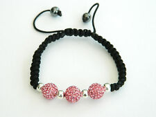 SHAMBALLA STYLE PETITE FILLES TAILLE TROIS Rose Cristal Disco boules bracelet
